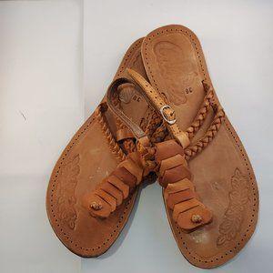 Cuba Leather Sandals Toe & Strap Sz 8 / 38